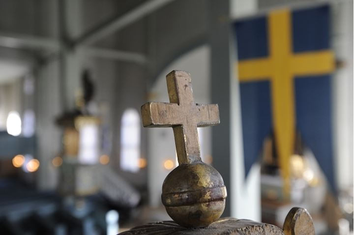 Close-Up of a cross from inside the Amiralitet church. Karlskrona. Sweden