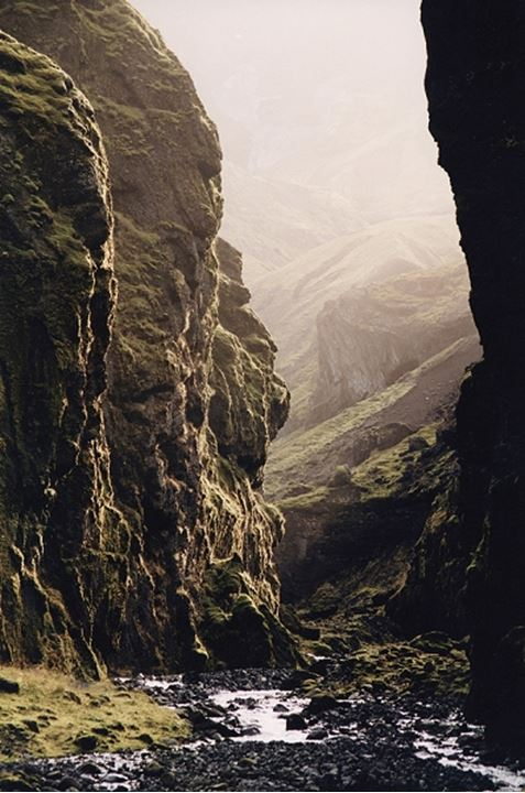 Fog in a canyon, Iceland