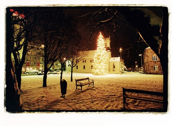 A Christmas tree by church Domkirkjan in downtown Reykjavik at night