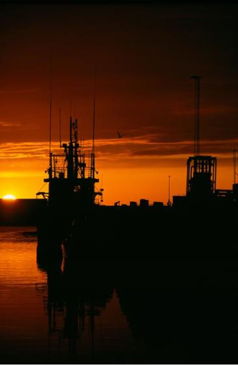 Silhouette's of ships docked in bay at sunset