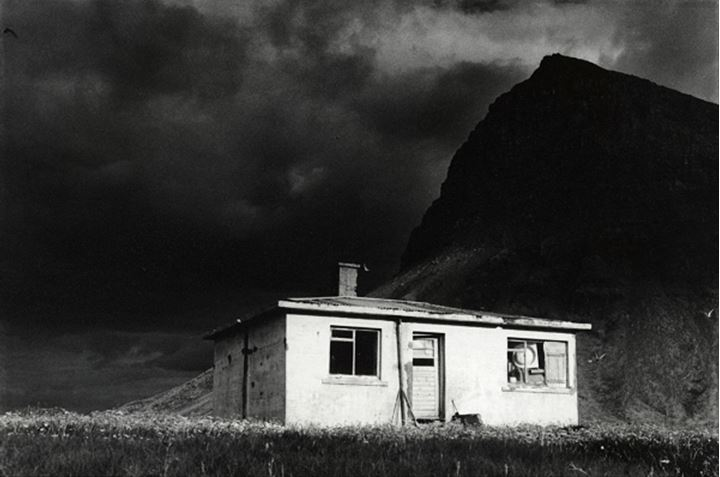 Iceland, Westfjords - Abandoned house in a field with a mountain in the background