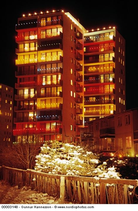 An appartment building decorated with christmas lights, Reykjavik, Iceland