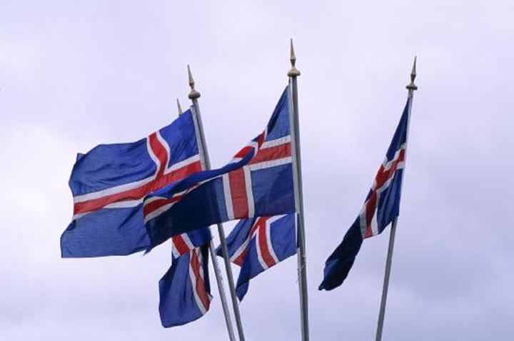 Group of Icelandic flags