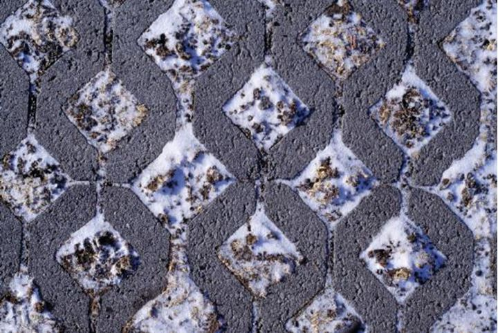 Close up of a sidewalk at winter time
