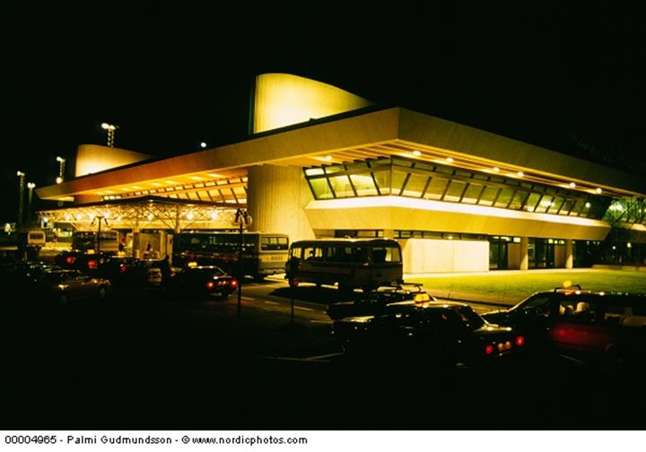 View of the departure side of the airport in Keflavik at night time.