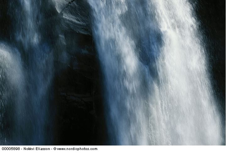 The wild flow of a waterfall
