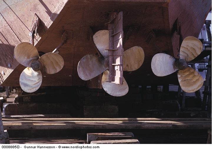 Three propellers on a ship