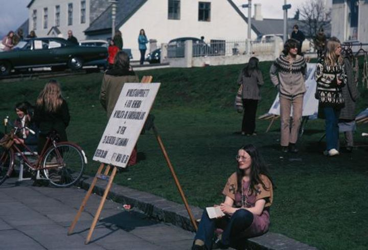 Young people protesting in Reykjavik in the 60's or 70's