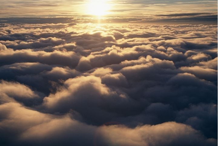 Beautiful view from above the clouds