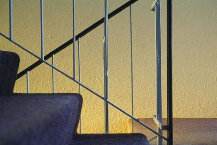 Close-up of bannister along with staircases, Iceland