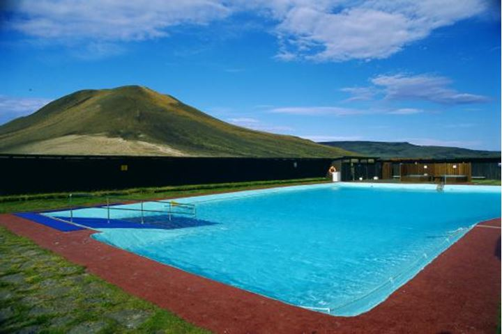 A swimming pool in the big, desert-like valley Thjorsardalur in the south of Iceland