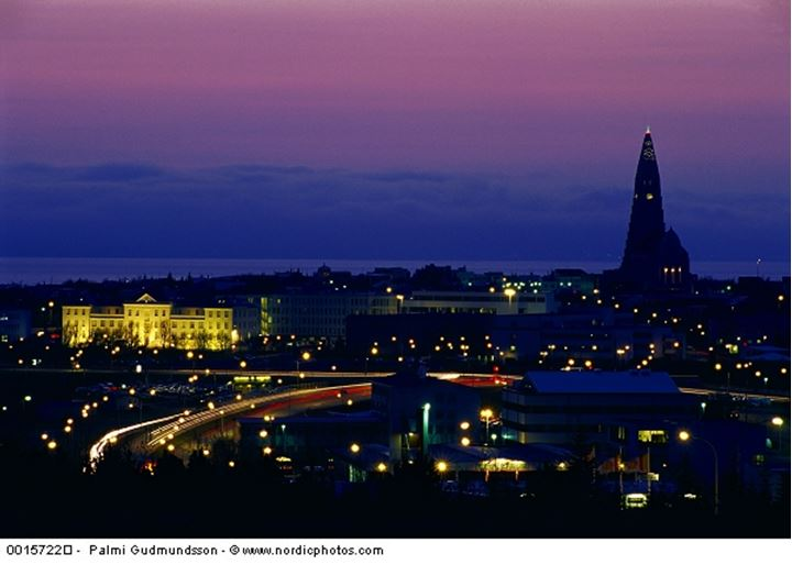 View over Reykjavik at nighttime