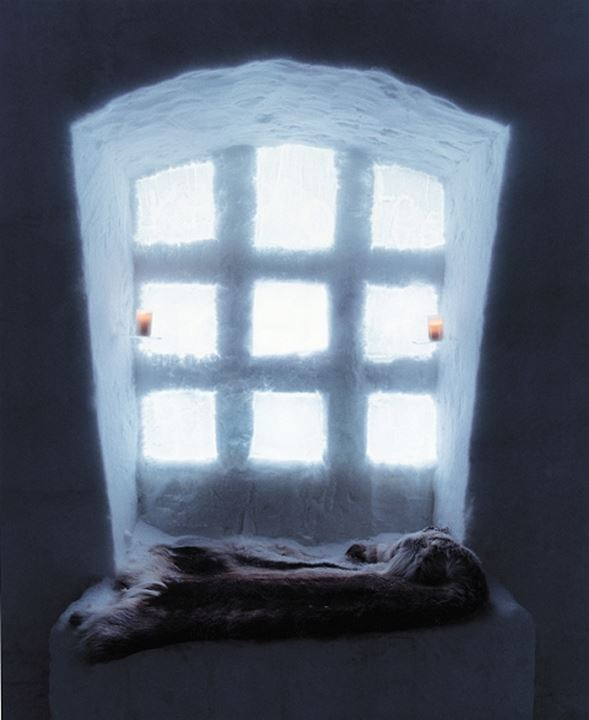 Window of a ice hotel, Sweden