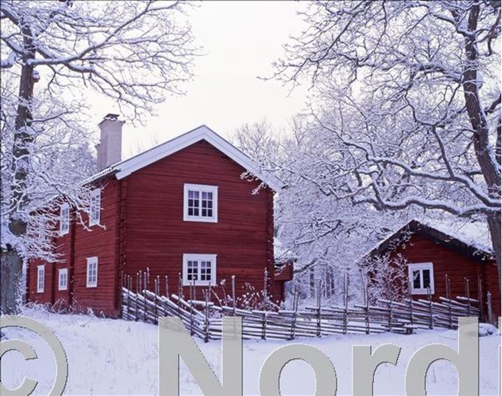 Red houses and some trees covered with snow.Eskilstuna