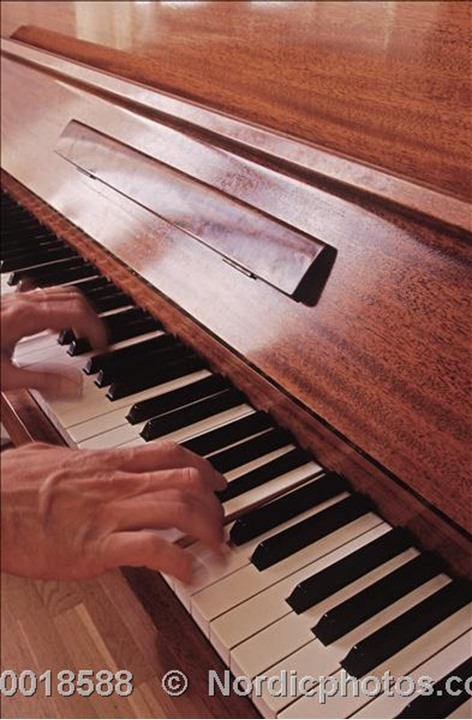 One hand playing a piano