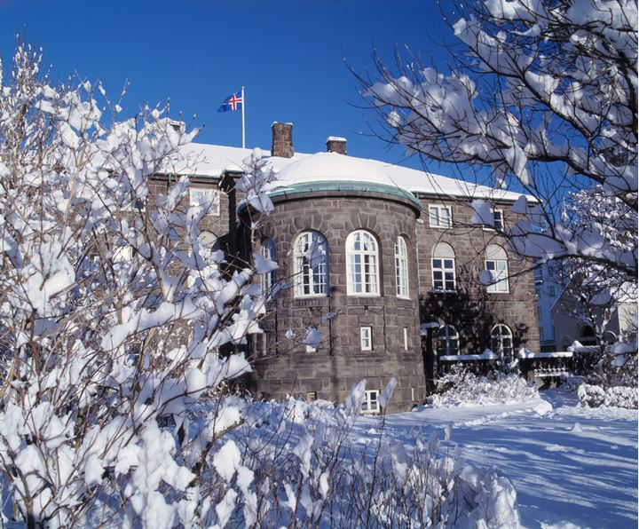 The Parliament in Reykjavik at wintertime, trees covered in snow