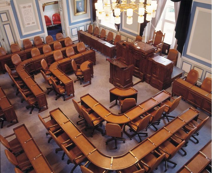 An empty room inside the Parliament in Reykjavik