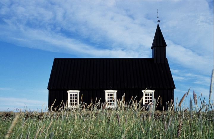 A black timber church, Iceland