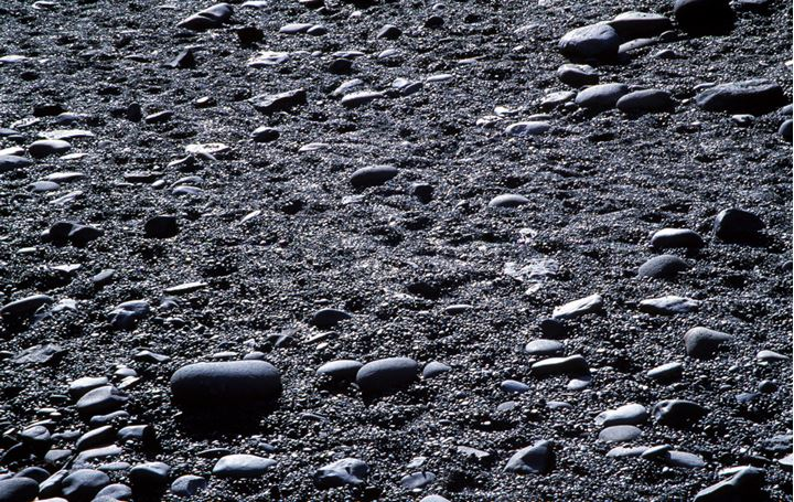 Sand and stones in the ground