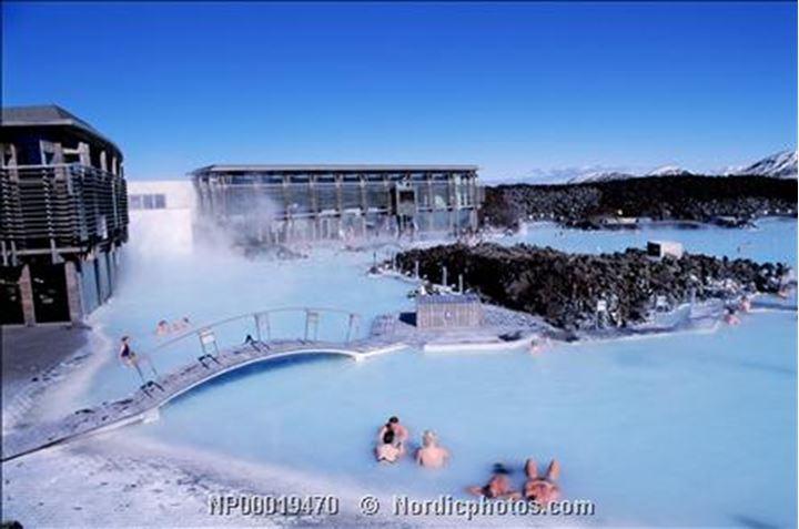 Iceland - High angle view of a group of people swimming in a hot spring, Blue Lagoon