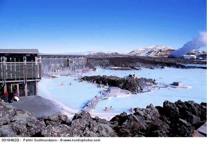 High angle view of tourists in a geothermal spa, Blue Lagoon, Reykjanes Peninsula, Iceland