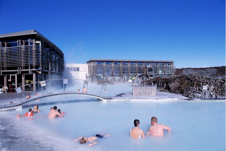 People relaxing in the Blue lagoon on a sunny day.