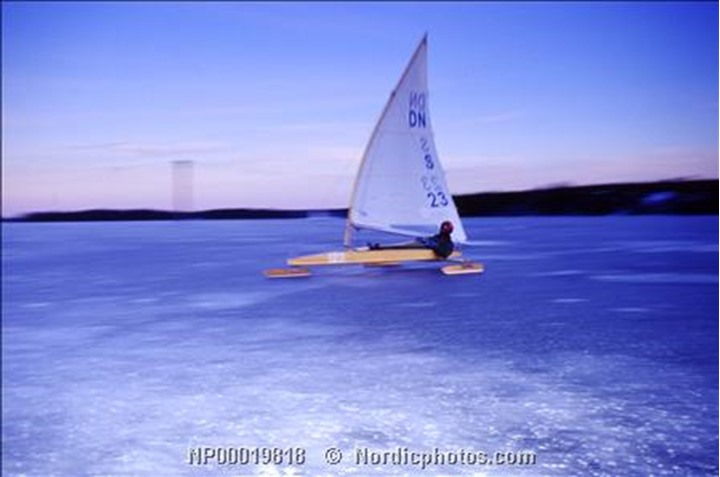 Ice boater sailing on a frozen lake, Sweden