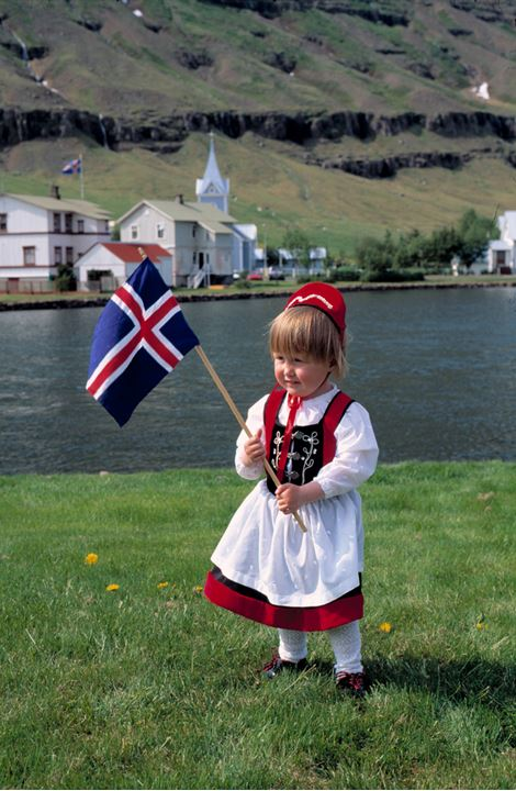 Child with the flag of Iceland