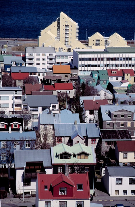 Overview of colourful roofs on houses in Reykjavik