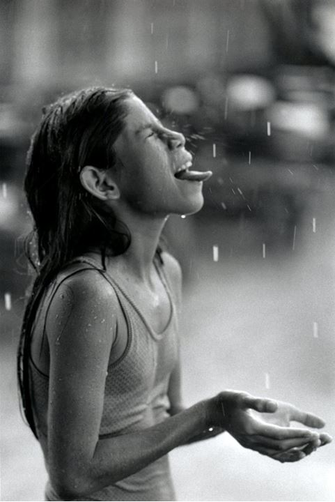 A girl in the rain