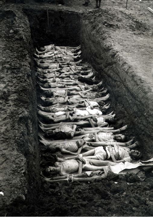 Bodies in a mass grave