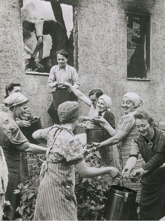 A group of happy women working