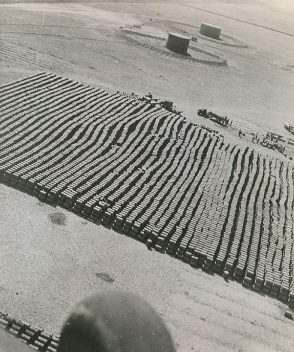 Airview of a military equipment depot