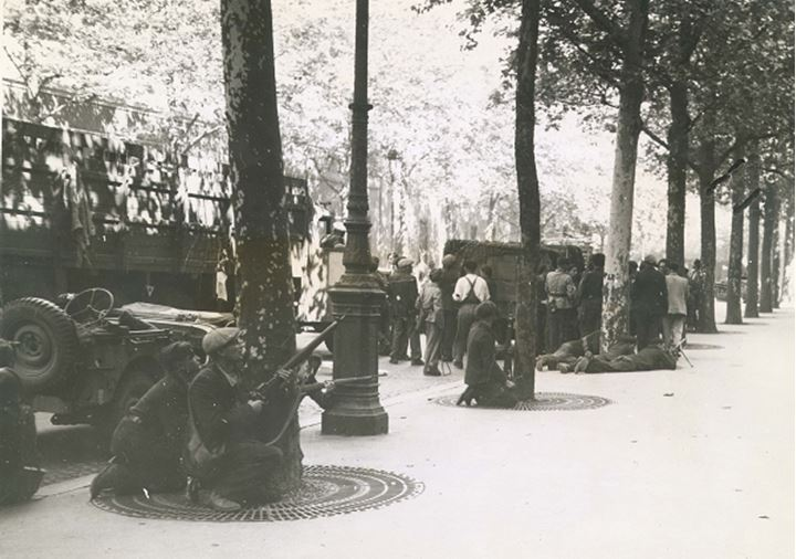Soldiers crouch behind a tree on a city sidewalk