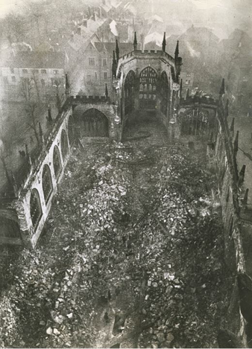 View from above of a destroyed church