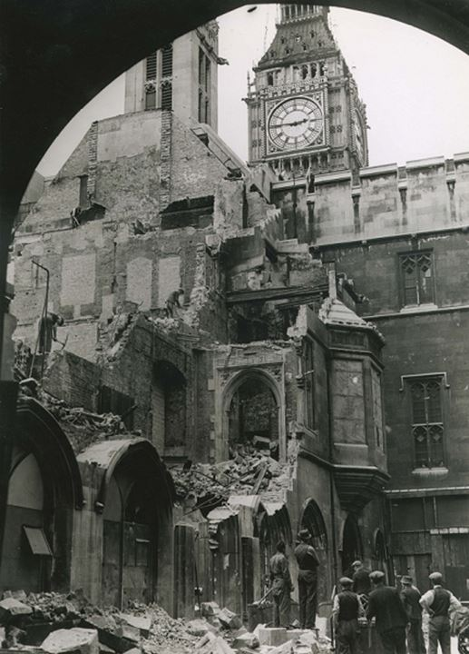 Ruins of a partially destroyed building