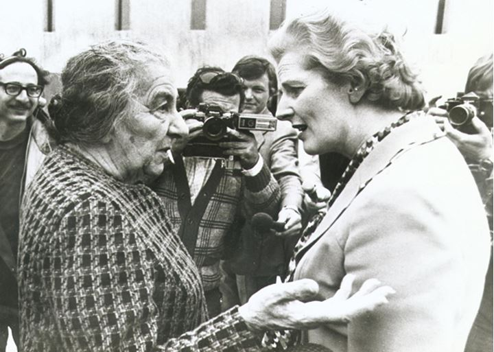 Margret Thatcher talking to an old lady