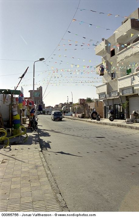 Streamers over a street in Hurghada Egypt