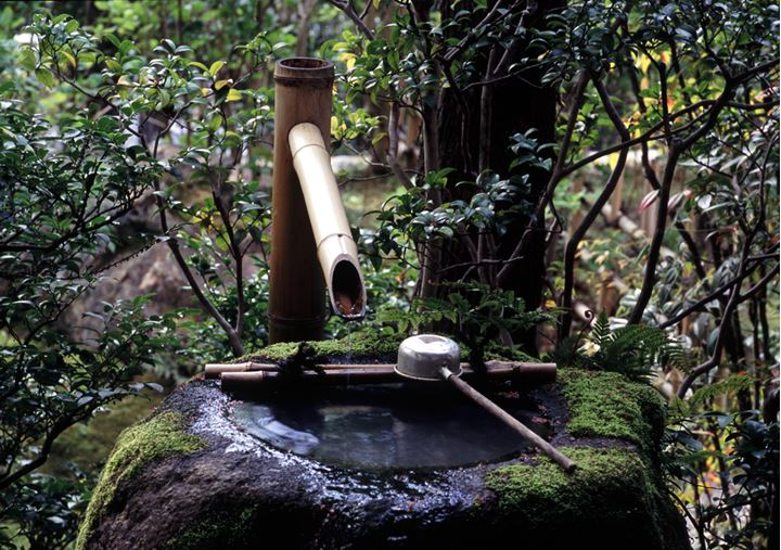 A spring with a bamboo pipe, Japan