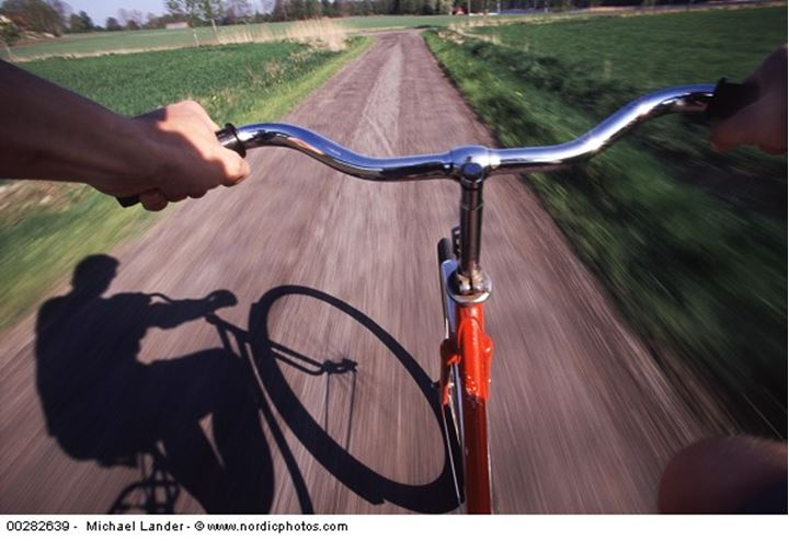 Bicycling on a country road
