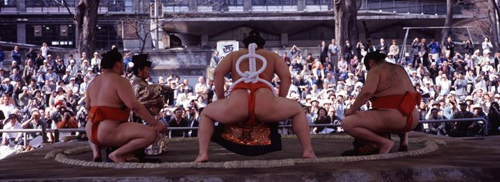 Sumo fighters in arena