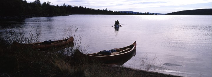 Canoes on a lake