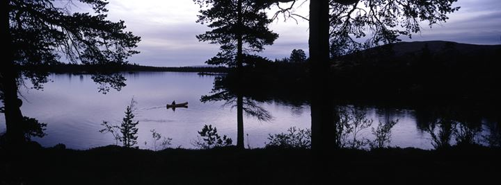 Silhouette of a boat on a lake, Sweden