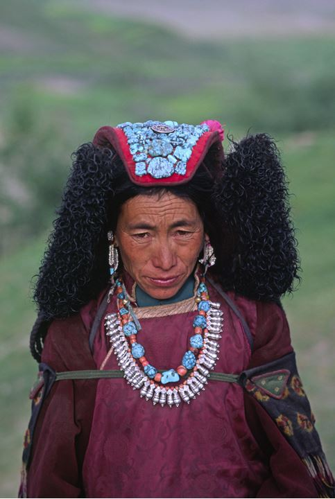 Portrait of a woman dressed in traditional costume