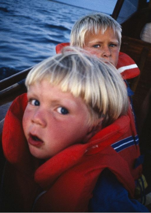Portrait of two boys wearing life jackets