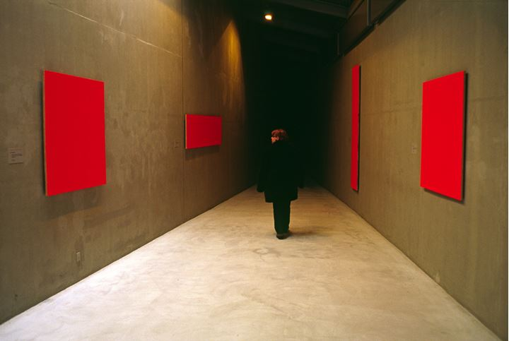 Woman looking at some rectangular red shapes hanging on a wall, Copenhagen, Denmark