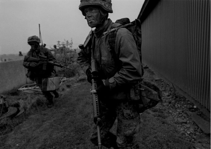 A soldier during combat