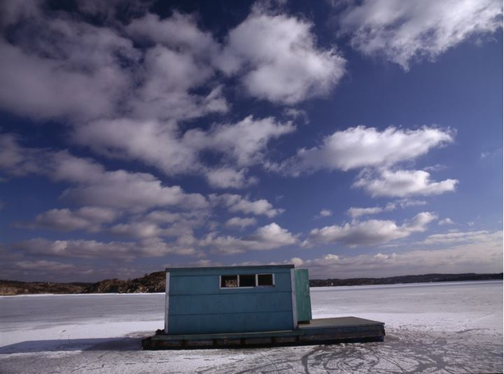 House-raft on a frozen lake