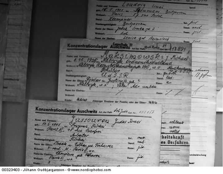 Papers of concentration camp Auschwitz prisoners