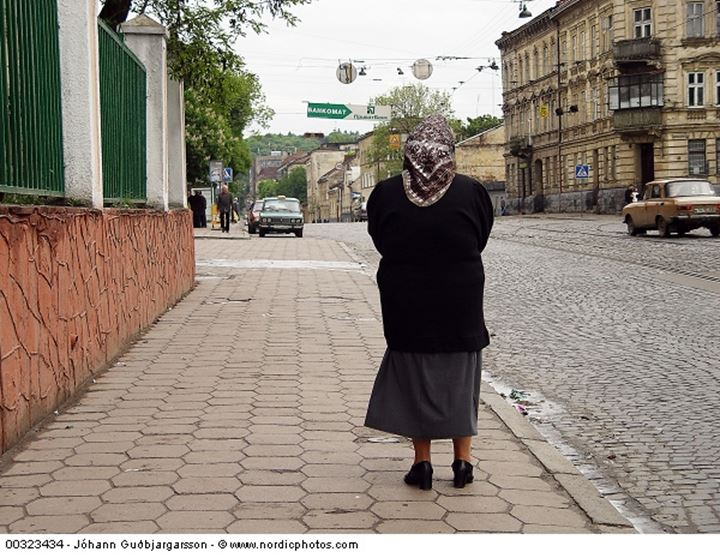 A woman at a street of a Ukrainian city